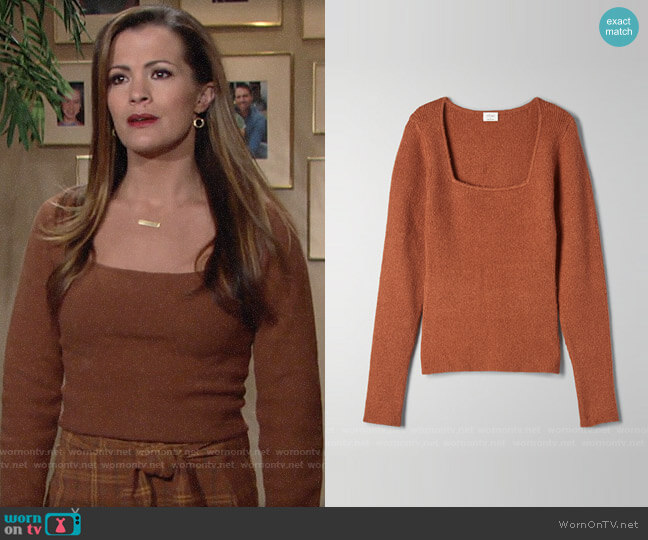 Aritzia Wilfred  Kirsty Sweater worn by Chelsea Lawson (Melissa Claire Egan) on The Young & the Restless