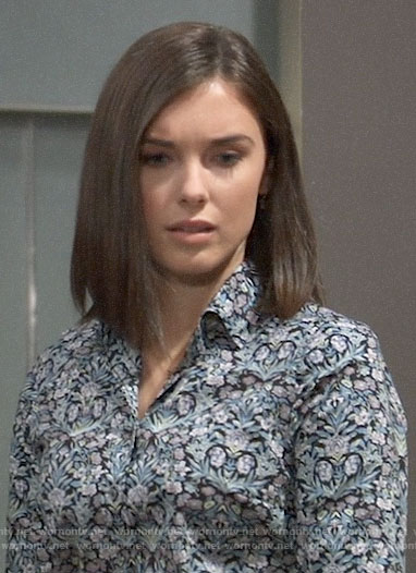 Willow's blue floral button down shirt on General Hospital