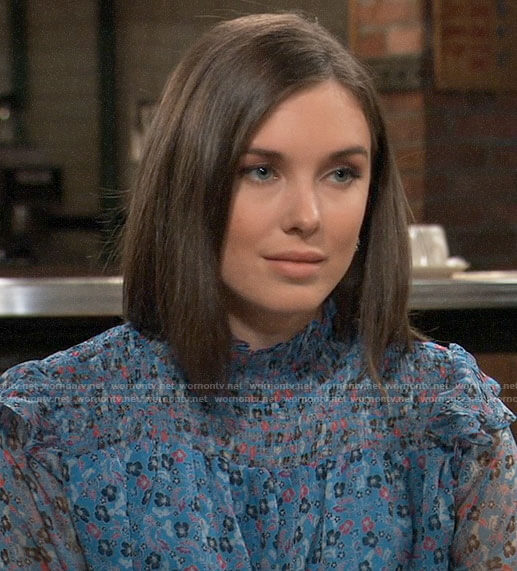 Willow's blue floral smocked blouse on General Hospital