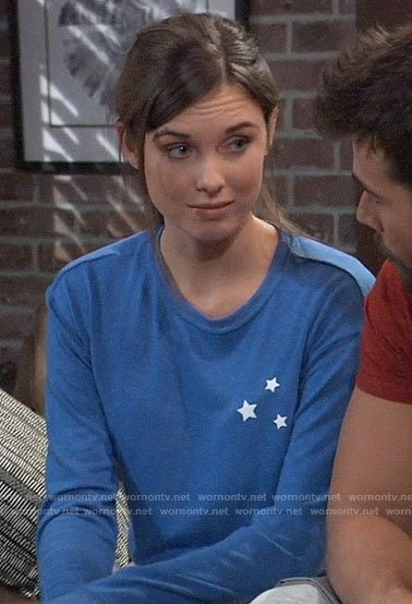 Willow's blue star sweatshirt on General Hospital