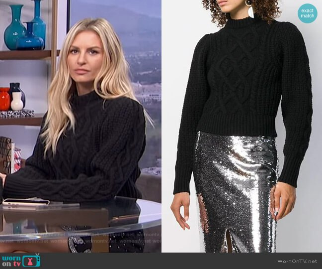 Cropped Cable-Knit Sweater by Wandering worn by Morgan Stewart  on E! News