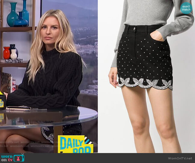 Crystal Embellished Mini Skirt by Wandering worn by Morgan Stewart  on E! News