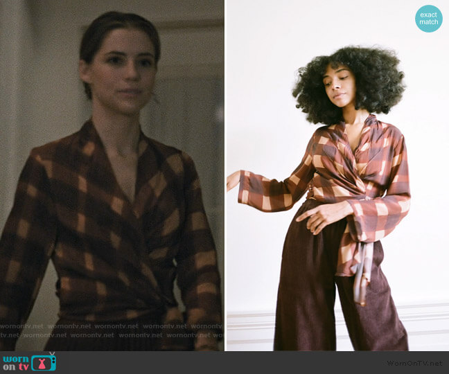 Long Sleeve Wrap Top by Wray worn by Stephanie 'Stevie' McCord (Wallis Currie-Wood) on Madam Secretary