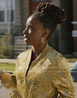 Veronica's yellow velvet star jacket on Shameless