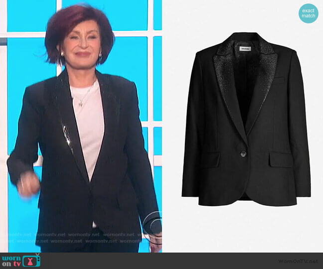 Viking strass-embellished stretch-crepe blazer by Zadig and Voltaire worn by Sharon Osbourne  on The Talk