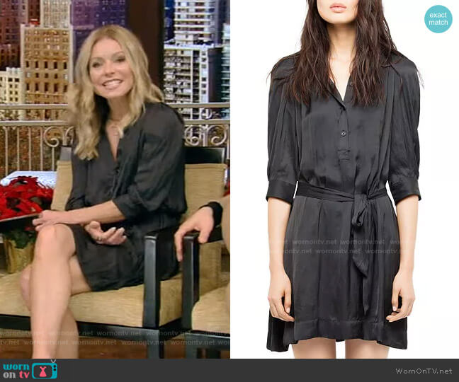 Retouch Satin Dress by Zadig & Voltaire worn by Kelly Ripa  on Live with Kelly & Ryan