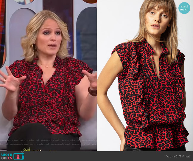 Tibo Print Leo Tunic by Zadig & Voltaire worn by Sara Haines  on Good Morning America