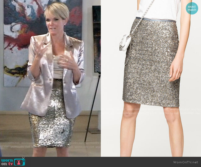 Zadig & Voltaire Joan Sequins Skirt worn by Ava Jerome (Maura West) on General Hospital