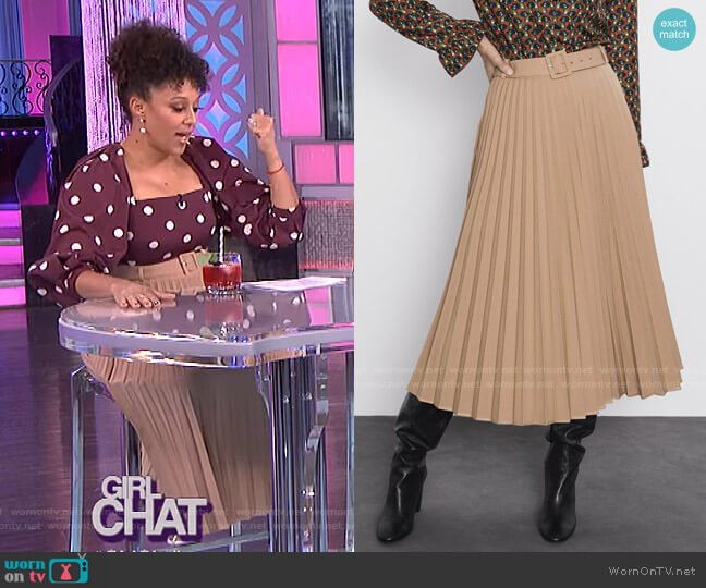 Belted Pleated Skirt by Zara worn by Tamera Mowry  on The Real