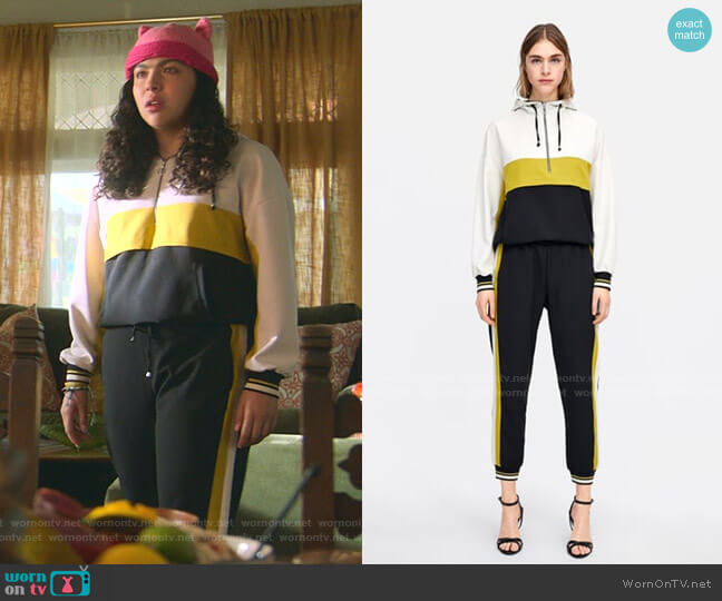 Block Color Jacket and Jogging Pants with Side Stripe by Zara worn by Molly Hernandez (Allegra Acosta) on Marvels Runaways