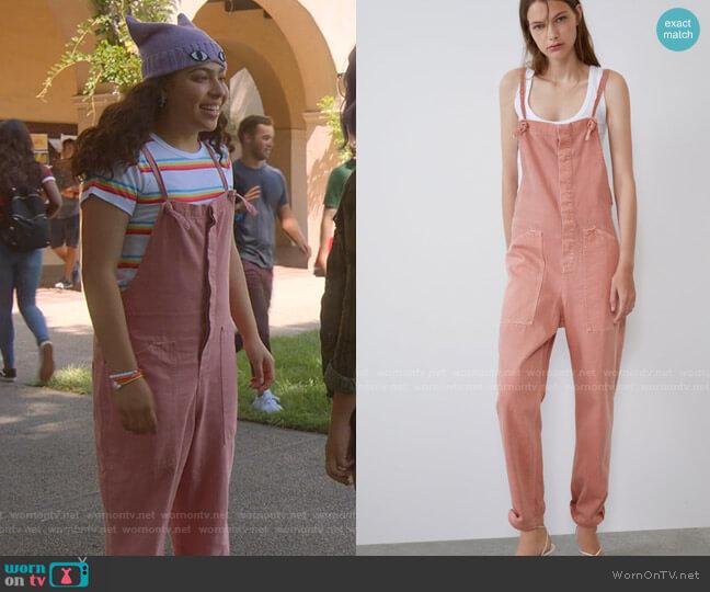 Colored Denim Jumpsuit by Zara worn by Molly Hernandez (Allegra Acosta) on Marvels Runaways