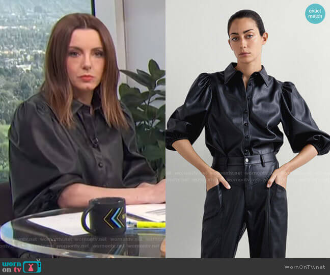 Faux Leather Shirt by Zara worn by Melanie Bromley  on E! News