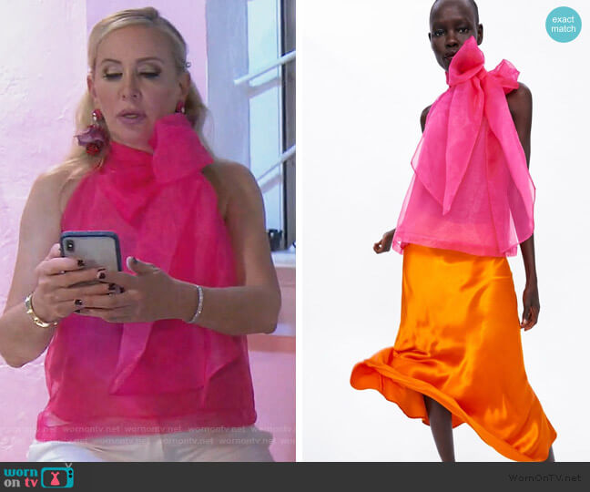 Organza Blouse with Bow Detail by Zara worn by Shannon Beador  on The Real Housewives of Orange County