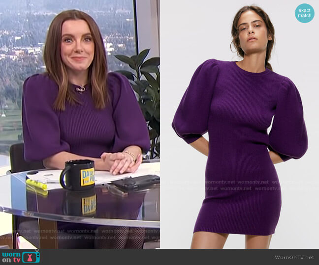 Puffy Sleeved Dress by Zara worn by Melanie Bromley  on E! News