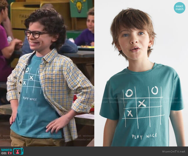 Three in a Row T-Shirt by Zara worn by Matteo Silva (Raphael Alejandro) on Bunkd
