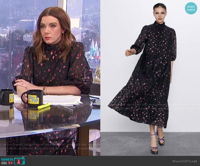 Voluminous Midi Dress by Zara worn by Melanie Bromley  on E! News