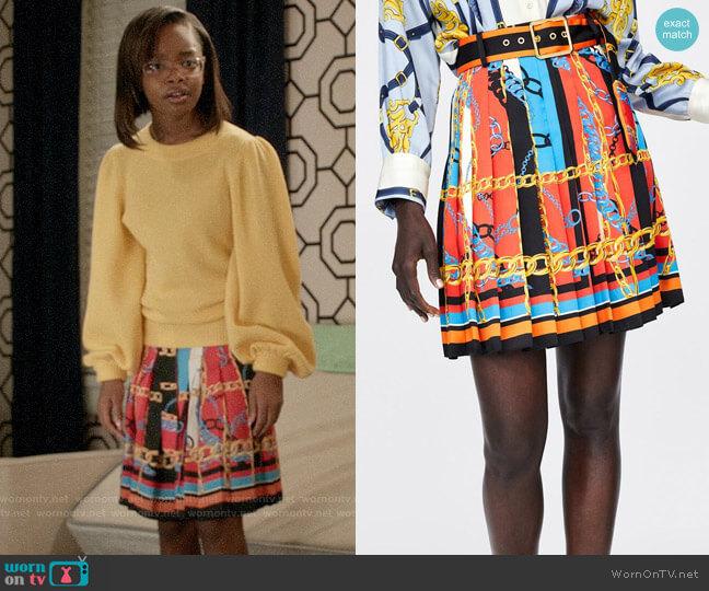 Zara Chain Print Pleated Skirt worn by Diane Johnson (Marsai Martin) on Blackish