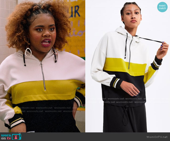 Zara Color Block Pouch Pocket Hoodie worn by Kourtney (Dara Renee) on High School Musical The Musical The Series