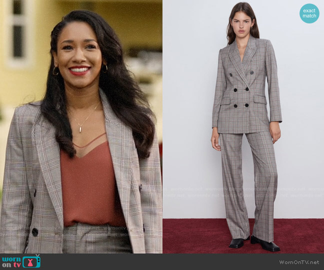 Zara Double Breasted Plaid Jacket worn by Iris West (Candice Patton) on The Flash