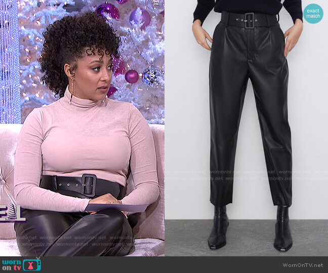 Belted Faux Leather Pants by Zara worn by Tamera Mowry  on The Real