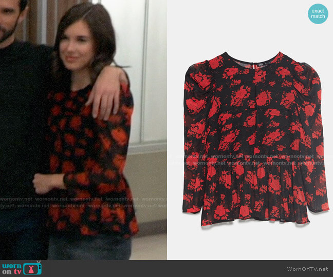 Zara Floral Print Blouse worn by Willow Tait (Katelyn MacMullen) on General Hospital