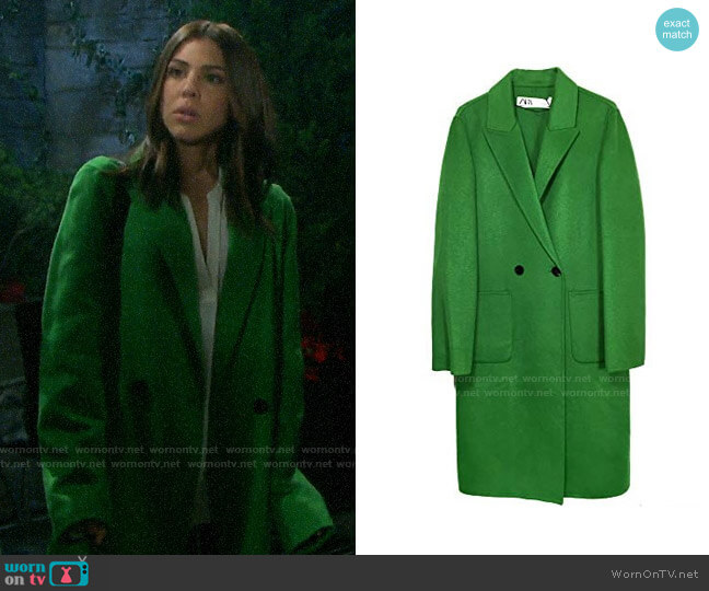 Zara Neon Masculine Coat worn by Abigail Deveraux (Kate Mansi) on Days of our Lives