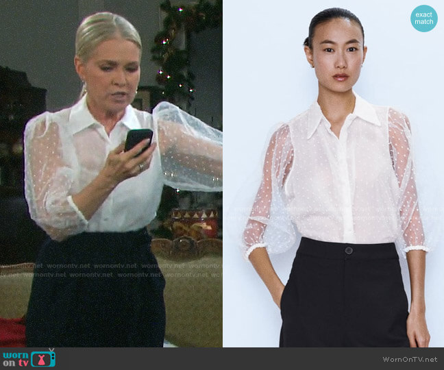 Zara Organza Blouse with Full Sleeves worn by Jennifer Horton (Melissa Reeves) on Days of our Lives