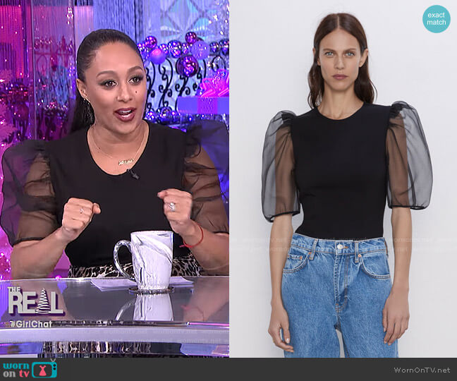 Organza Sleeve Top by Zara worn by Tamera Mowry  on The Real