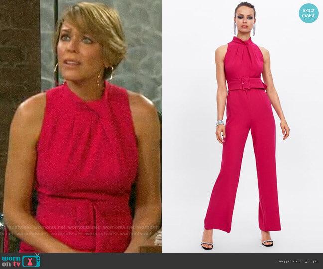 Zara Pink Belted Jumpsuit worn by Nicole Walker (Arianne Zucker) on Days of our Lives