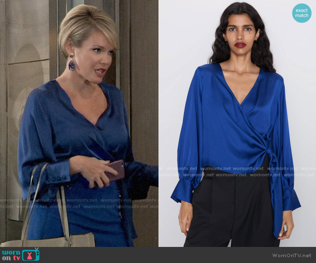 Zara Sateen Wrap Blouse worn by Ava Jerome (Maura West) on General Hospital