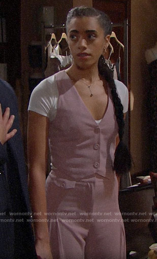 Zoe's pink waistcoat and pants on The Bold and the Beautiful