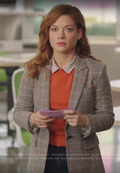 Zoey's checked blazer and fish print shirt on Zoeys Extraordinary Playlist