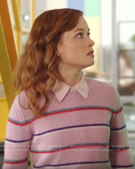 Zoey's purple striped sweater on Zoeys Extraordinary Playlist