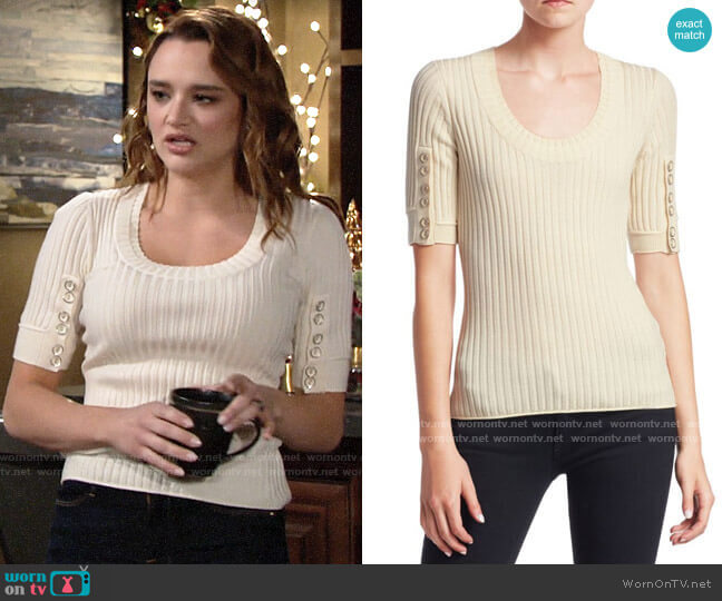 3.1 Phillip Lim Button Detail Sleeve Sweater worn by Summer Newman (Hunter King) on The Young & the Restless