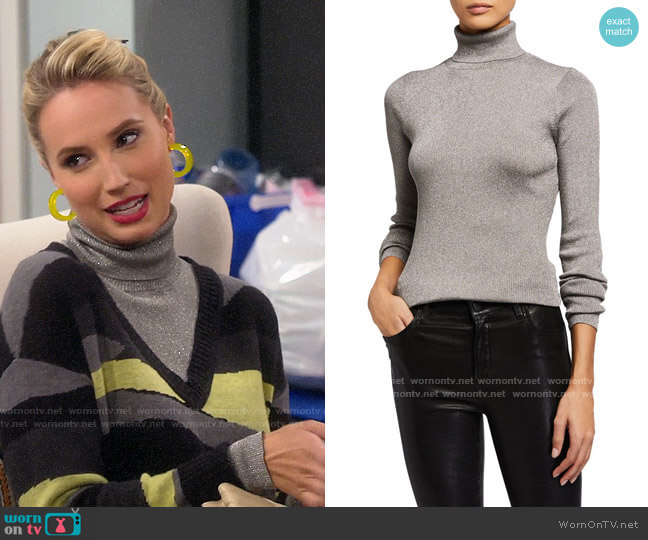 3.1 Phillip Lim Ribbed Metallic Turtleneck Pullover Sweater worn by Mandy Baxter (Molly McCook) on Last Man Standing