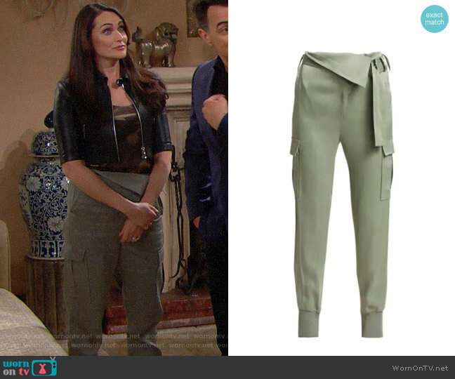 3.1 Phillip Lim Satin Foldover Waist Joggers worn by Quinn Fuller (Rena Sofer) on The Bold & the Beautiful