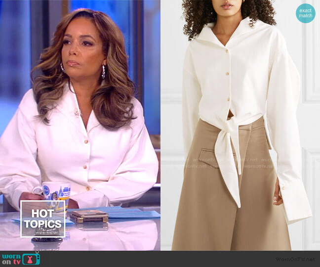 + NET SUSTAIN tie-detailed twill shirt by Aaizel worn by Sunny Hostin  on The View