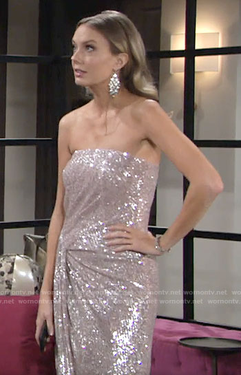 Abby's strapless sequin dress on The Young and the Restless