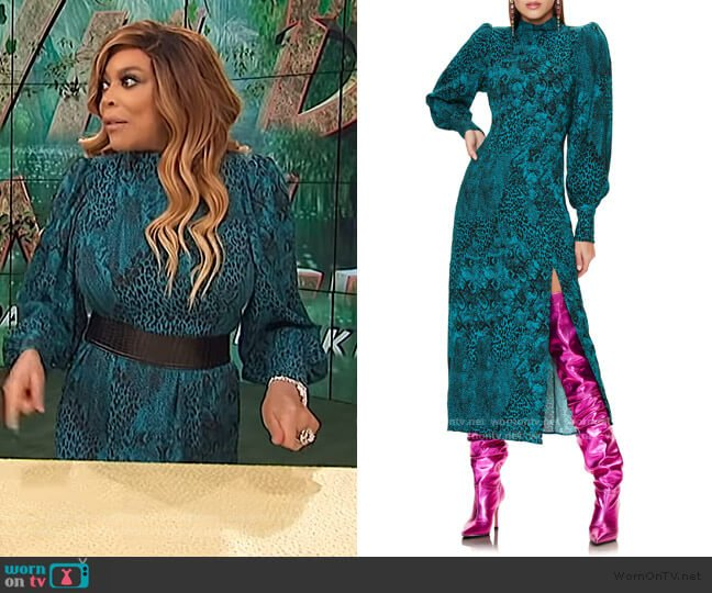 Bobbie Long Sleeve Mock Neck Midi Dress by AFRM worn by Wendy Williams  on The Wendy Williams Show