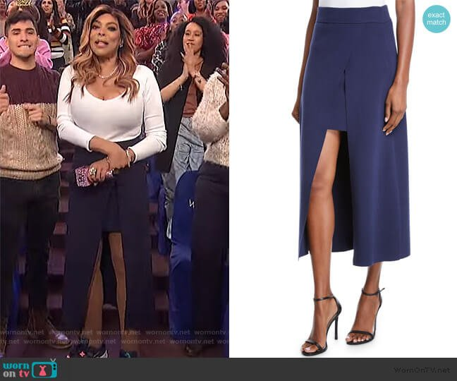 Canady Layered Cutaway Midi Skirt by A.L.C. worn by Wendy Williams  on The Wendy Williams Show