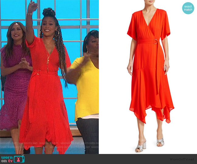 Claire Belted Handkerchief Silk Dress by A.L.C. worn by Eve  on The Talk
