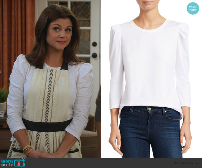 Karlie Puff-Sleeve Tee by A.L.C. worn by Lori Mendoza (Tiffani Thiessen) on Alexa & Katie