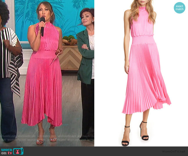 Renzo Pleated Sleeveless Midi Dress by A.L.C. worn by Carrie Inaba  on The Talk