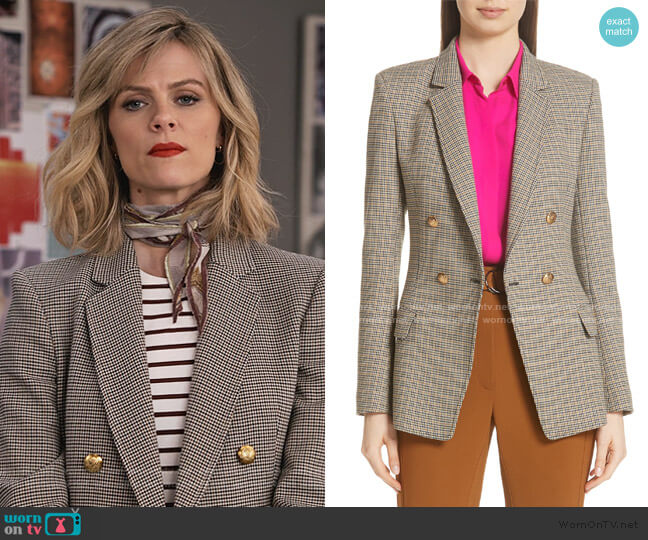 Sedgwick Check Blazer by A.L.C. worn by Mallory (Brooklyn Decker) on Grace & Frankie