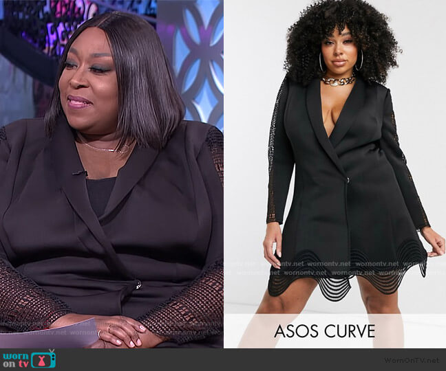 Lace Inset Cut Out Tux Blazer Mini Dress by ASOS worn by Loni Love  on The Real
