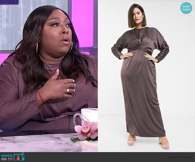Curve Maxi Dress with batwing sleeve and wrap waist in satin by ASOS worn by Loni Love  on The Real