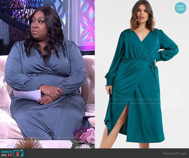 Jersey Satin Wrap Midi Dress by Asos worn by Loni Love  on The Real