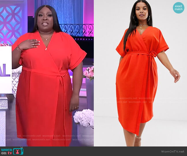 Midi Wrap Dress by Asos Curve worn by Loni Love  on The Real