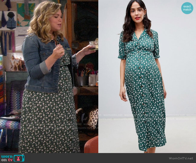 ASOS DESIGN Maternity button through maxi tea dress in ditsy floral print worn by Kristin Baxter (Amanda Fuller) on Last Man Standing