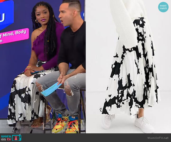 Cow Print Satin Pleat Midi Skirt by Asos worn by Keke Palmer  on Good Morning America